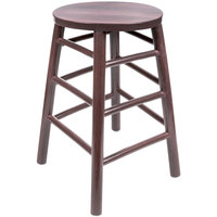 "Lancaster Table &amp&#x3b; Seating 24"" Metal Woodgrain Counter Height Stool with Wine Color Finish"