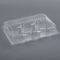 Par-Pak 2029 6-Cup Hinged OPS Plastic 4 oz. Muffin Container - 10 / Pack