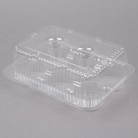 Polar Pak 2020 6-Cup High Top Hinged OPS Plastic Cupcake Container - 10/Pack