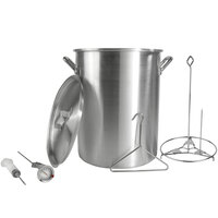 Backyard Pro 30 Quart Aluminum Stock Pot / Turkey Fry Pot with Lid and Accessories