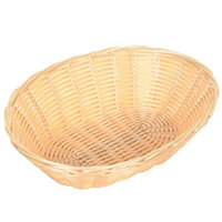 9 inch x 7 1/4 inch x 2 3/4 inch Oval Plastic Natural Bread Basket - 12/Case