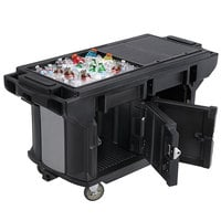 Cambro VBRUTHD6110 Black 6' Versa Ultra Work Table with Storage and Heavy Duty Casters