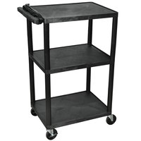 Luxor / H. Wilson LP42E-B Black 42 inch Three Shelf AV Cart with Three Outlets and Cord