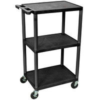 Luxor / H. Wilson LP42-B Black 42 inch Three Shelf AV Cart