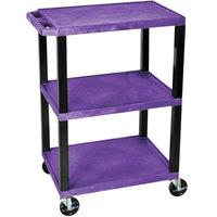 Luxor / H. Wilson WT34PS Purple 34 inch Three Shelf AV Utility Cart