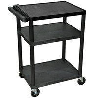 Luxor / H. Wilson LP34E-B Black 34 inch Three Shelf AV Cart with Three Outlets and Cord