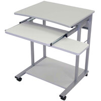 Luxor / H. Wilson LCT29 Mobile Computer Desk with Pullout Keyboard - Gray