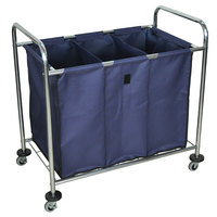 Luxor HL15 7 Bushel 3-Compartment Industrial Laundry Cart with Dividers - 38 1/2 inch x 24 3/4 inch x 36 1/2 inch