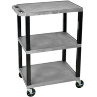 Luxor / H. Wilson WT34GYS Gray 34 inch Three Shelf AV Utility Cart