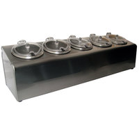 Steril-Sil LTC-5SW 5-Hole Complete Non-Insulated Stainless Steel Countertop Condiment Dispenser