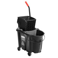 Rubbermaid Black 1863896 35 Qt. Executive Series WaveBrake Side Press Mop Bucket