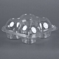 4 Compartment Clear Hinged Dome Muffin Container - 200 / Case