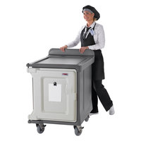 Cambro MDC1520S10HD191 10-Tray Granite Gray Low Profile Meal Delivery Cart with Heavy Duty Casters
