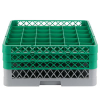 Noble Products 36-Compartment Gray Full-Size Glass Rack with 3 Green Extenders - 19 3/8 inch x 19 3/8 inch x 8 3/4 inch