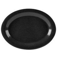 GET OP-120-EW-BK Etchedware 12 inch x 9 inch Textured Black Oval Platter - 12/Case