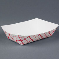 #200 2 lb. Red Check Paper Food Tray - 250 / Pack