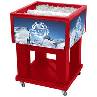 Red Mini Texas Icer 5015 Insulated Ice Bin / Merchandiser 32 Qt. with Dividers and Drain 23 1/4 inch x 23 1/4 inch