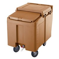 Cambro ICS125L157 Coffee Beige Sliding Lid Portable Ice Bin - 125 lb. Capacity