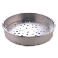 American Metalcraft PT4013 13 inch x 1 inch Perforated Tin-Plated Steel Straight Sided Pizza Pan