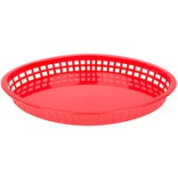 Tablecraft 1086R Texas Platter 12 3/4 inch x 9 1/2 inch x 1 1/2 inch Red Oval Polypropylene Basket - 12 / Pack