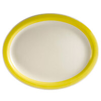 CAC R-14-Y Rainbow 12 1/2 inch x 8 5/8 inch Yellow Rolled Edge Platter - 12 / Case