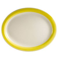CAC R-14NR-Y Rainbow 13 1/2 inch x 10 1/8 inch Yellow Narrow Rim Platter - 12/Case