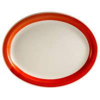 CAC R-12NR-R Rainbow 9 1/2 inch x 7 1/4 inch Red Narrow Rim Platter - 24 / Case