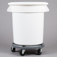 20 Gallon White Ingredient Bin / Trash Can, Lid, and Dolly Kit