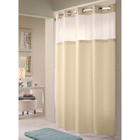 Hookless Beige Double H Shower Curtain with Chrome Raised Flex-On Rings, It's A Snap! Polyester Liner with Magnets, and Poly-Voile Translucent Window - 71 inch x 77 inch