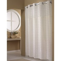 Hookless HBH65D201X White Shimmy Square Shower Curtain with Chrome Raised Flex-On Rings, It's A Snap! Polyester Liner with Magnets, and Poly-Voile Translucent Window - 71 inch x 77 inch