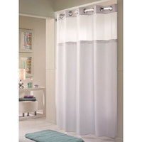 Hookless White Double H Shower Curtain with Chrome Raised Flex-On Rings, It's A Snap! Polyester Liner with Magnets, and Poly-Voile Translucent Window - 71 inch x 74 inch
