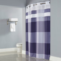 Hookless Purple Print Devan Shower Curtain with Chrome Raised Flex-On Rings, It's A Snap! Polyester Liner with Magnets, and Sheer-Voile Translucent Window - 71 inch x 77 inch