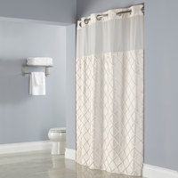 Hookless Beige Pintuck Shower Curtain with Chrome Raised Flex-On Rings, It's A Snap! Polyester Liner with Magnets, and Poly-Voile Translucent Window - 71 inch x 77 inch