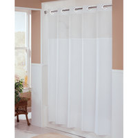 Hookless HBH49MYS01SL74 White Illusion Shower Curtain with Chrome Raised Flex-On Rings, It's A Snap! Polyester Liner with Magnets, and Poly-Voile Translucent Window - 71 inch x 74 inch