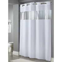 Hookless White The Major Shower Curtain with Matching Flat Flex-On Rings, Weighted Corner Magnets, and Bubble-Textured Window - 71 inch x 77 inch