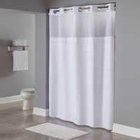 Hookless HBH20MPT01SL White RePET One PLANET Alexandria Shower Curtain with Chrome Raised Flex-On Rings, It's A Snap! RePET Liner with Magnets, and Poly-Voile Translucent Window - 71 inch x 77 inch