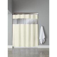 Hookless Beige 8-Gauge Vision Shower Curtain with Vinyl Window and Weighted Corner Magnets - 71 inch x 74 inch