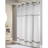 Hookless HBH40MYS0129SL77 White with Brown Stripe Escape Shower Curtain with Chrome Raised Flex-On Rings, It's A Snap! Polyester Liner with Magnets, and Poly-Voile Translucent Window - 71 inch x 77 inch