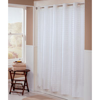 Hookless HBH43LIT01 White Litchfield Shower Curtain with Matching Flat Flex-On Rings and Weighted Corner Magnets - 71 inch x 74 inch