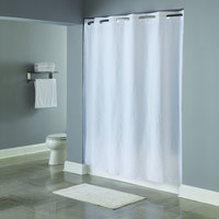 Hookless White 5-Gauge PEVA One PLANET Shower Curtain with Matching Flat Flex-On Rings and Weighted Corner Magnets - 71 inch x 74 inch