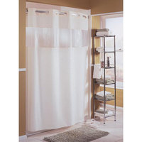 Hookless Beige The Major Shower Curtain with Matching Flat Flex-On Rings, Weighted Corner Magnets, and Bubble-Textured Window - 71 inch x 74 inch
