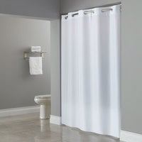 Hookless HBH40PLW01L White ADA Size Plainweave Shower Curtain with Matching Flat Flex-On Rings and Weighted Corner Magnets - 71 inch x 80 inch