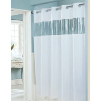 Hookless White 8-Gauge Vision Shower Curtain with Vinyl Window and Weighted Corner Magnets - 71 inch x 74 inch