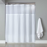 Hooked White Polyester Premium Shower Curtain with Buttonhole Header, It's A Snap! Polyester Liner with Magnets, and Sheer Voile Window - 71 inch x 72 inch