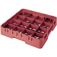 Cambro 16S418416 Camrack 4 1/2 inch High Cranberry 16 Compartment Glass Rack