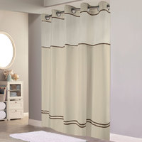 Hookless Sand with Brown Stripe Escape Shower Curtain with Chrome Raised Flex-On Rings, It's A Snap! Polyester Liner with Magnets, and Poly-Voile Translucent Window - 71 inch x 77 inch