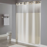 Hookless Beige Illusion Shower Curtain with Chrome Raised Flex-On Rings, It's A Snap! Polyester Liner with Magnets, and Poly-Voile Translucent Window - 71 inch x 74 inch