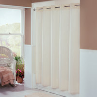 Hookless Beige Embossed Moire Shower Curtain with Matching Flat Flex-On Rings and Weighted Corner Magnets - 71 inch x 77 inch