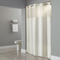 Hookless Beige Madison Shower Curtain with Matching Flat Flex-On Rings, Weighted Corner Magnets, and Poly-Voile Translucent Window - 71 inch x 77 inch