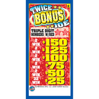 Twice Bonus Joe 1 Window Pull Tab Tickets - 2322 Tickets Per Deal - Total Payout: $1800